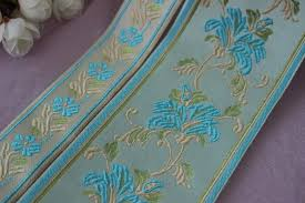 jacquard ribbon by the yard mix 4yards lots woven jacquard ribbon 3 5cm 8cm blue color flowers