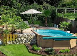 backyard small pool idea next to patio with parasols also diy