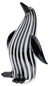 black and white striped glass penguin be fabulous