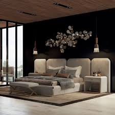 luxury italian bed with wide nubuck leather headboard juliettes