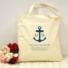 personalized navy nautical anchor tote cotton canvas bag for