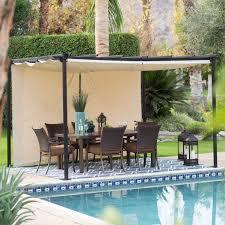 Patio Canopy Gazebo by Belham Living Steel Outdoor Pergola Gazebo With Retractable Canopy