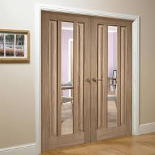 Oak Interior Doors Kilburn 1 Light Oak Door Pair With Clear Safety Glass