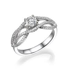 vintage engagement ring 14k white gold with diamonds in prong and