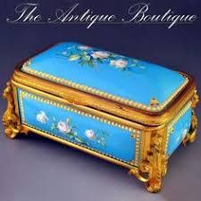 Gilt Bonze Enameled Portrait Antique Enamel Gilt Bronze Jewelry Casket Signed