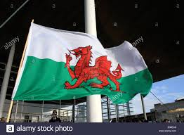 Green Day Flag Welsh Flag Flying Welsh Assembly St Davids Day Stock Photo