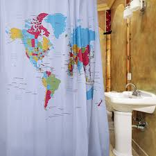 World Map Curtains by Where To Shop For Bathroom Fabric Shower Curtain World Map Design