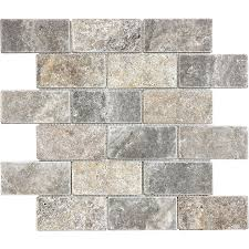 shop what new tile lowes anatolia tile silver crescent brick mosaic travertine wall common