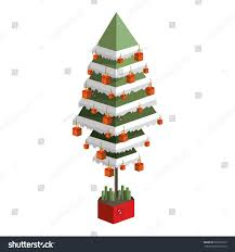 decorated green christmas tree pixel design stock vector 530575615