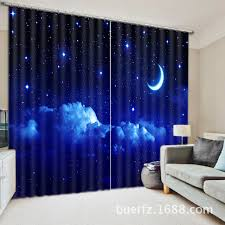 moon star 3d galaxy universe blackout curtains for living room