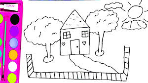 how to draw houses trees clouds and clothes coloring pages