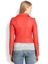 red leather motorcycle jacket iro luiga leather motorcycle jacket in red lyst
