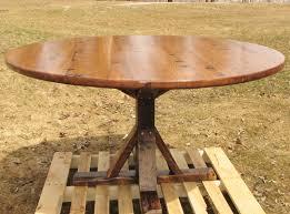 Oak Pedestal Table Handmade Reclaimed Oak Round Pedestal Table By Custom Made