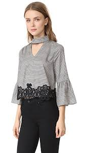 houndstooth blouse moon river houndstooth lace blouse black womens mrive30095