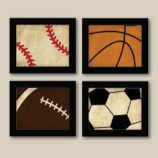 Kids Room Prints by Set Of 4 Vintage Sports Prints Baseball Football Basketball