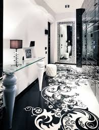 Black And White Bathroom Decorating Ideas Fascinating Living Room With Black And White Floor And Wall