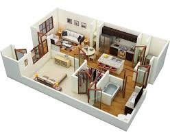 apartment one bedroom apartment 3d floor plan with small balcony