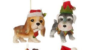raz imports ornament beagle or snauzer santa hat raz imports