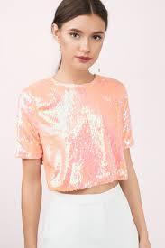 top orange top sequin top sleeve sequin top s