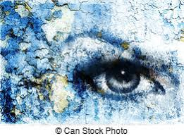 stock illustration of women eye color rust effect painting