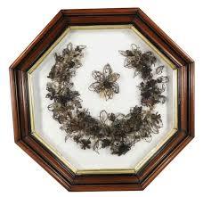 hair wreath hair wreath in shadow box