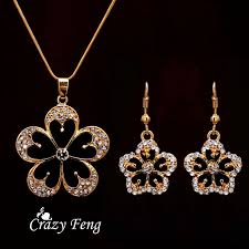 trendy flower necklace images Free shipping crystal flower pendant necklace earrings trendy jpg