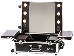 makeup vanity set with lighted mirror including nyx artist train