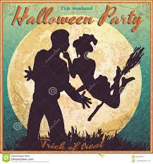 Halloween Vintage Pictures Halloween Vintage Poster Witch And A Man Stock Vector Image