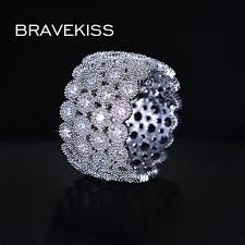 wide wedding bands bravekiss delicate micro pave cz womens hollow rings wide
