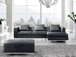 modern sectional sofa in leather with ottoman oslo black l