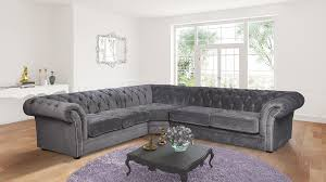 Fabric Chesterfield Sofas by Nelson Chesterfield Corner 2c3 Chenille Fabric Sofa Charcoal Grey