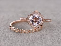 Promise Ring Engagement Ring And Wedding Ring Set by 2pcs Morganite Bridal Ring Set Engagement Ring Rose Gold Diamond