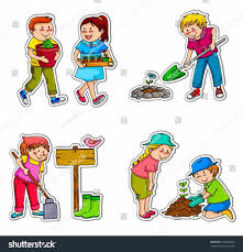 Gardening Clip Art And In Color Pot Kids Planting Clipart Plant Kid Pencil And In