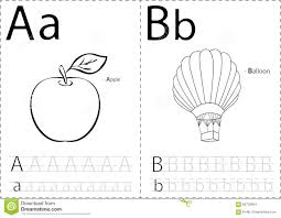 cartoon apple and balloon alphabet tracing worksheet writing a