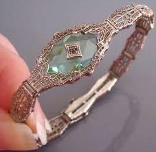 art deco peridot camphor glass crystal filigree sterling silver