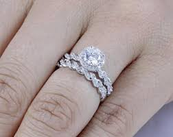 wedding engagement rings bridal sets etsy