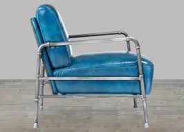 Aqua Leather Chair Top Grain Leather Blue Club Chair With Metal Frame