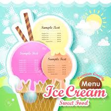 restaurant ice cream menu cover vector design template royalty