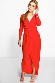 boo hoo clothing lyst boohoo plus zoe slinky wrap front maxi dress in