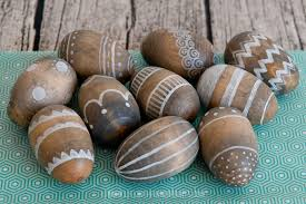 wooden easter eggs easter craft for adults and kids with fingerprints