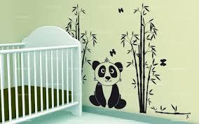 stickers panda chambre bébé panda et bambous