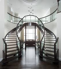 Modern Glass Stairs Design Curved Glass Maple Stair Modern Staircase Edmonton By