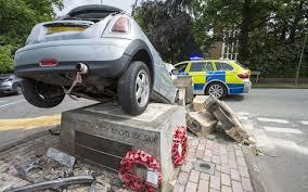 war memorial destroyed after car crash mini lands on top of it