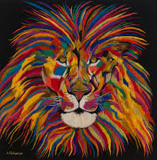 description piece face lion painting