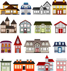 free illustration houses set architecture clip free