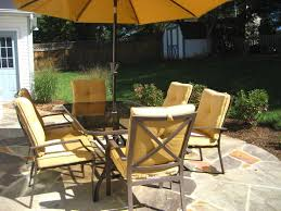 Patio Furniture Wrought Iron Dining Sets - patio 7 patio dining set with umbrella wooden patio furniture