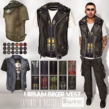 mens leather motorcycle vest lapointe and bastchild new