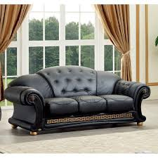 Ital Leather Sofa Elegantly Designed And Rich In Style This Black Italian Leather