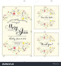 Wedding Invitation Rsvp Cards Wedding Invitation Thank You Card Save Stock Vector 129380276