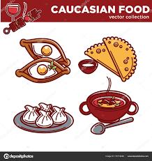 cuisine caucasienne aliments de cuisine caucasienne image vectorielle sonulkaster